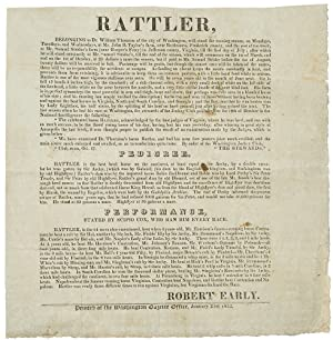 Rattler . Belonging to Dr. William Thornton of the City of Washington, will stand the ensuing sea...