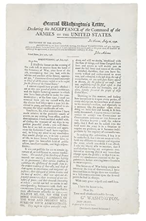 General Washington's Letter Declaring his Acceptance of the Command of the Armies of the United S...