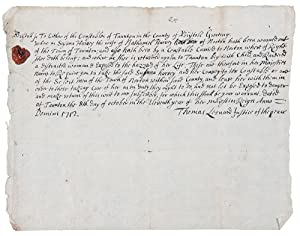 [Unusual manuscript document signed by the Justice of the Peace of Tauton, Massachusetts, orderin...