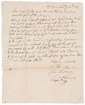 Manuscript document signed by the selectmen of Newtown, NJ, attesting that Isaac Titsoort [i.e. T...