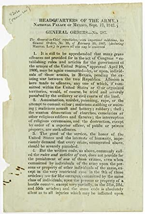 Headquarters of the Army, National Palace of Mexico, Sept. 17, 1847. General Orders - No. 287