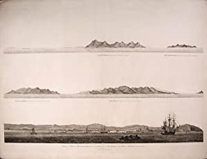 View of the City of Ten-Tchoo from the anchorage of the Hindostan in the Strait of Mi-A-Tau bearing...
