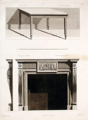 Chimneypiece and Table in the Hall of Shelburne House: ADAM, After Robert (1728-1792) and James ...