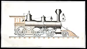 Steam Locotmotive] An original ink and watercolour drawing of an American steam locomotive: CUSHMAN...
