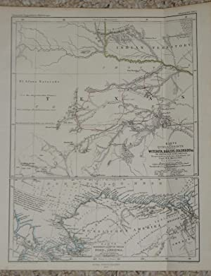 (Map of Northern Texas; Map of Northwestern North America - 2 Plates on Single Sheet): 1. Karte Q...