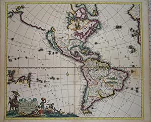 (Map / Chart of North and South America- California as an Island)): Recentissima Novi Orbis Sive ...
