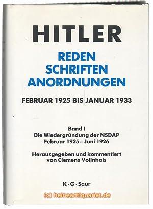 Reden. Schriften. Anordnungen. Februar 1925 bis Januar: Hitler, Adolf
