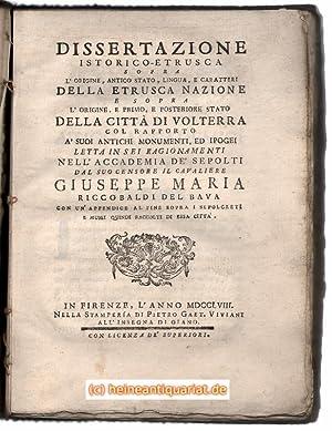 Dissertazione istorico-etrusca sopra l'origine, antico stato, lingua,: Riccobaldi Del Bava,