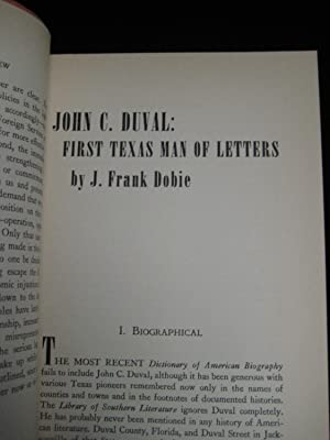 John C. Duval: First Texas Man of Letters: Dobie, J. Frank