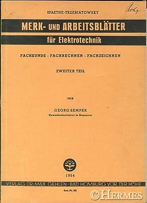 Merk- und Arbeitsblätter für Elektrotechnik. Fachkunde, Fachrechnen, Fachzeichnen., ...