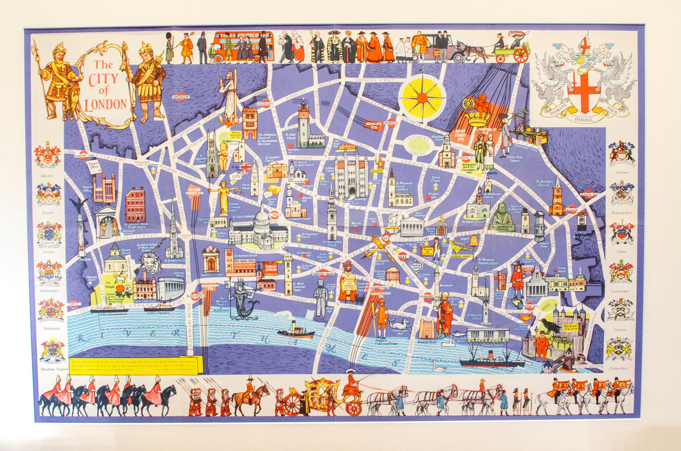 City Of London Map The City of London: Pictorial Map. by SIMS, Mary (Designer