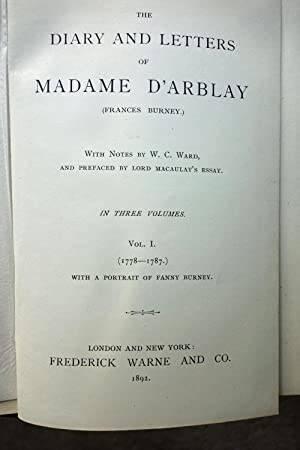 Diary and Letters of Madame D'Arblay (3 Volumes): Fanny Burney d'Arblay.