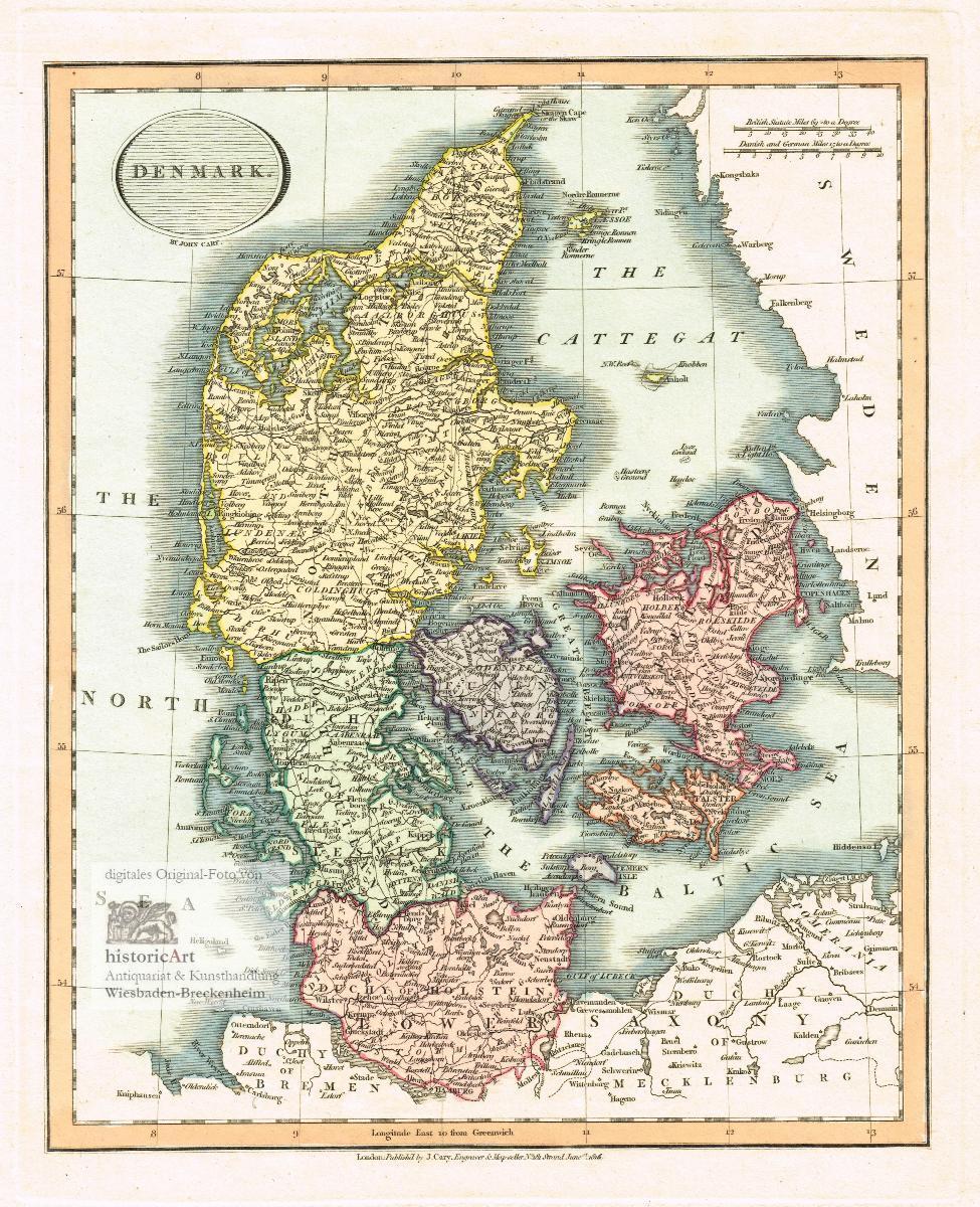 Denmark Grosse Landkarte Von Danemark Nordsee Cattegat Und