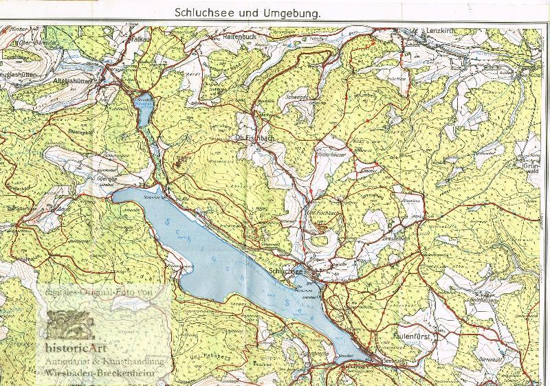 Schluchsee Und Umgebung 1936 Karte Historicart Antiquariat