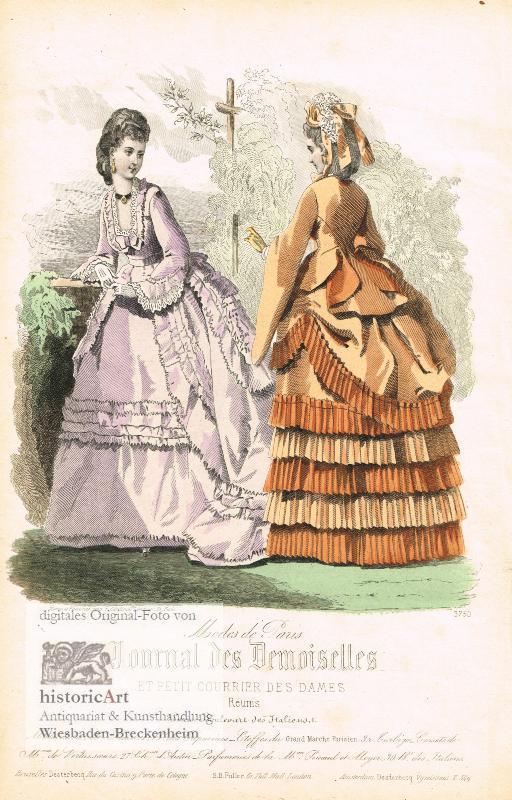 Zwei junge Damen in prächtigen Kleidern vor: Moine et Falconer