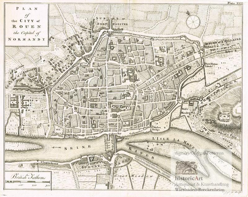 Plan of the City of Rouen the Capital of Normandy. Antique Map ...