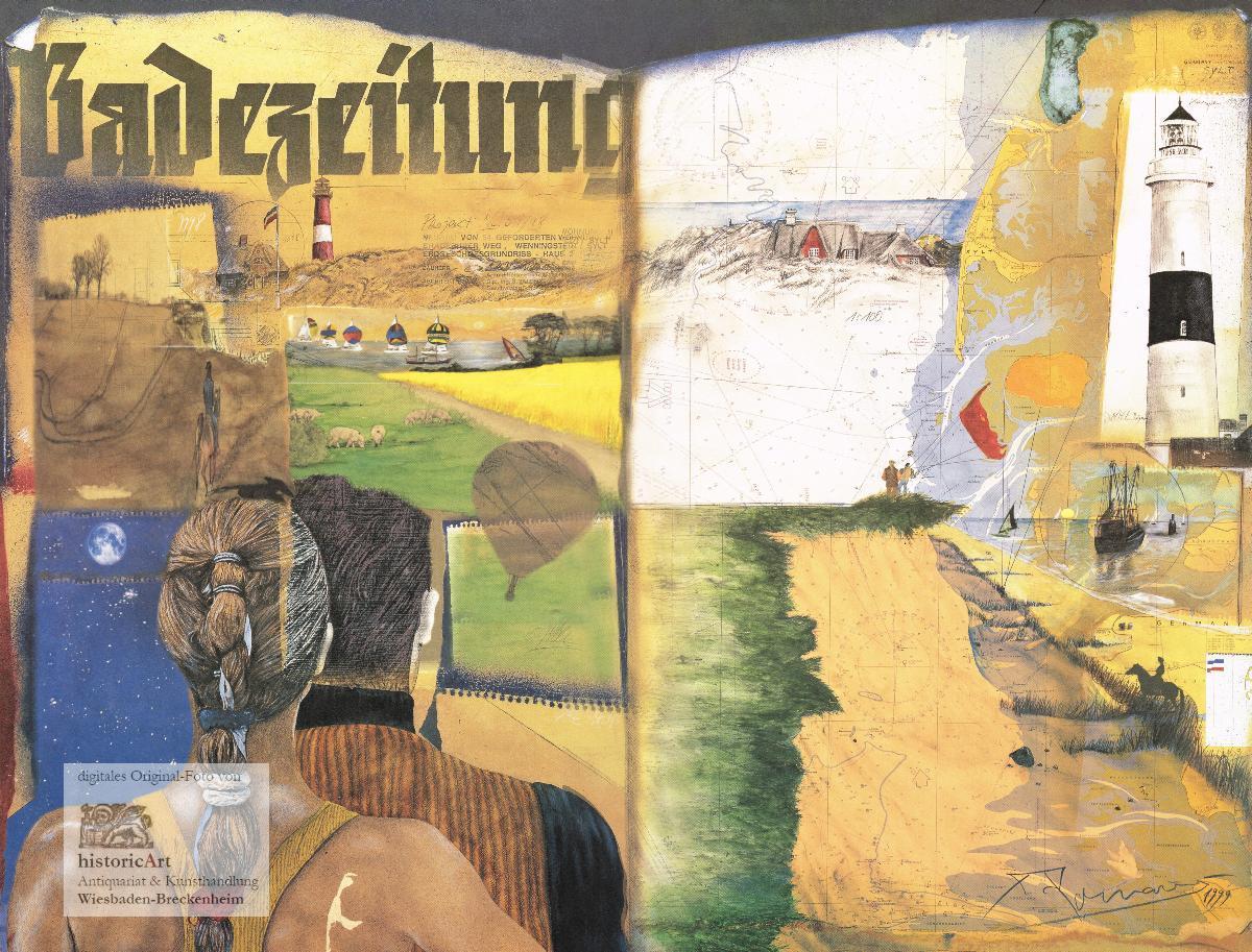 Sylt. Großer Kunstdruck einer Collage mit Motiven: Anonymus (unleserlich signiert)