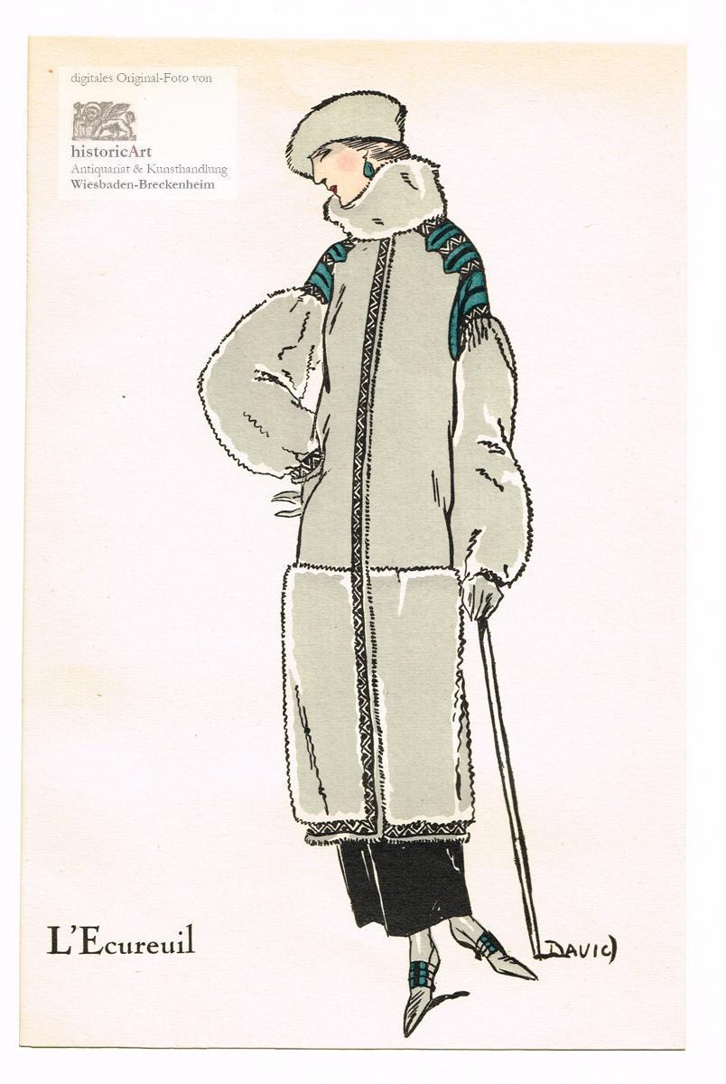 L'Ecureuil. Manteau d'Antilope et écureuil. Damenmantel aus: David