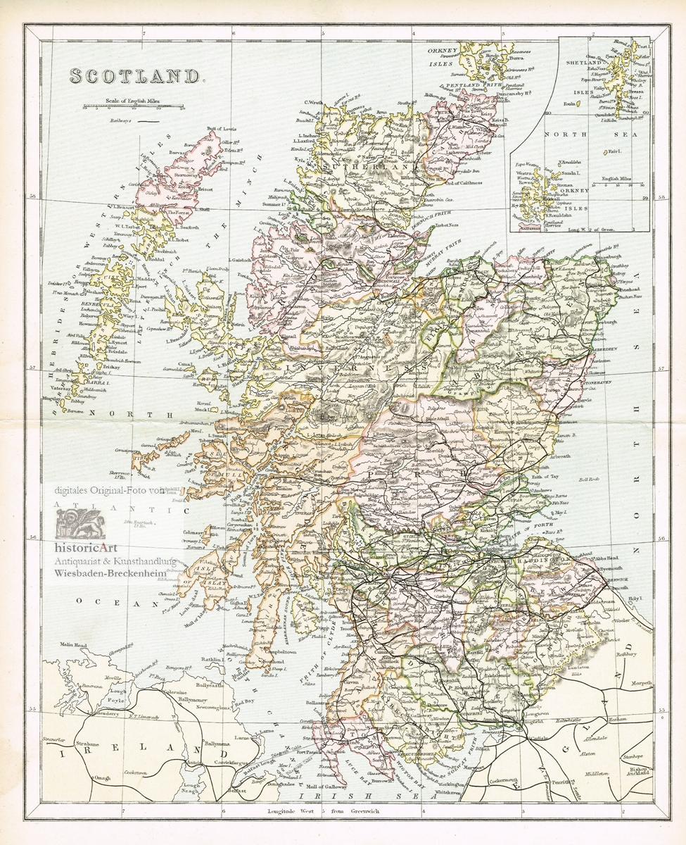 Scotland Landkarte Von Schottland Mit Eisenbahnlinien Von Den