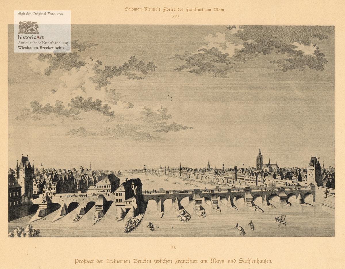 Prospect der Steinernen Brucken zwischen Franckfurt am: Salomon Kleiner (1700-1761),