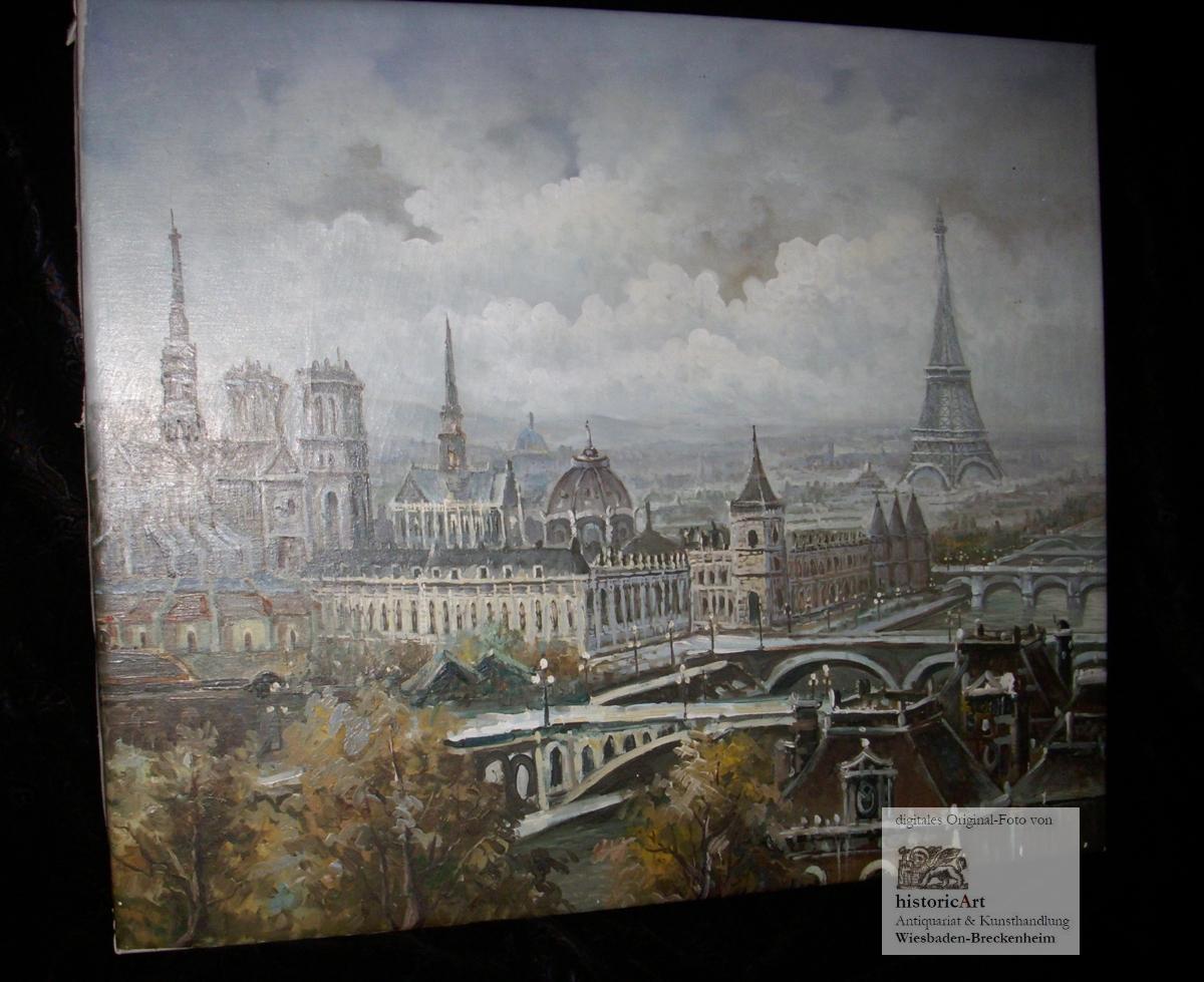 Paris. Gesamtansicht mit Eiffelturm, Palais de Justice,: unleserlich signiert