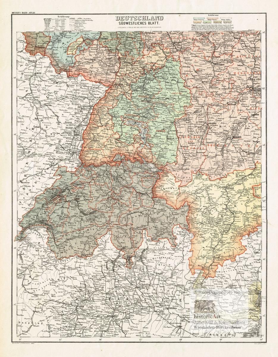 Neueste Karte Von Deutschland Der Schweiz Und Ober Italien In 4