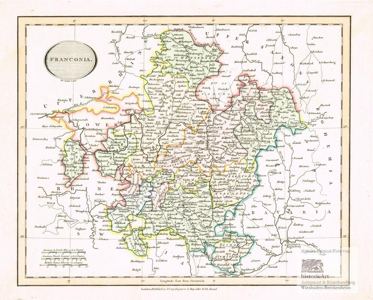 Franconia Landkarte Von Franken Von Henneberg Im Norden Bis