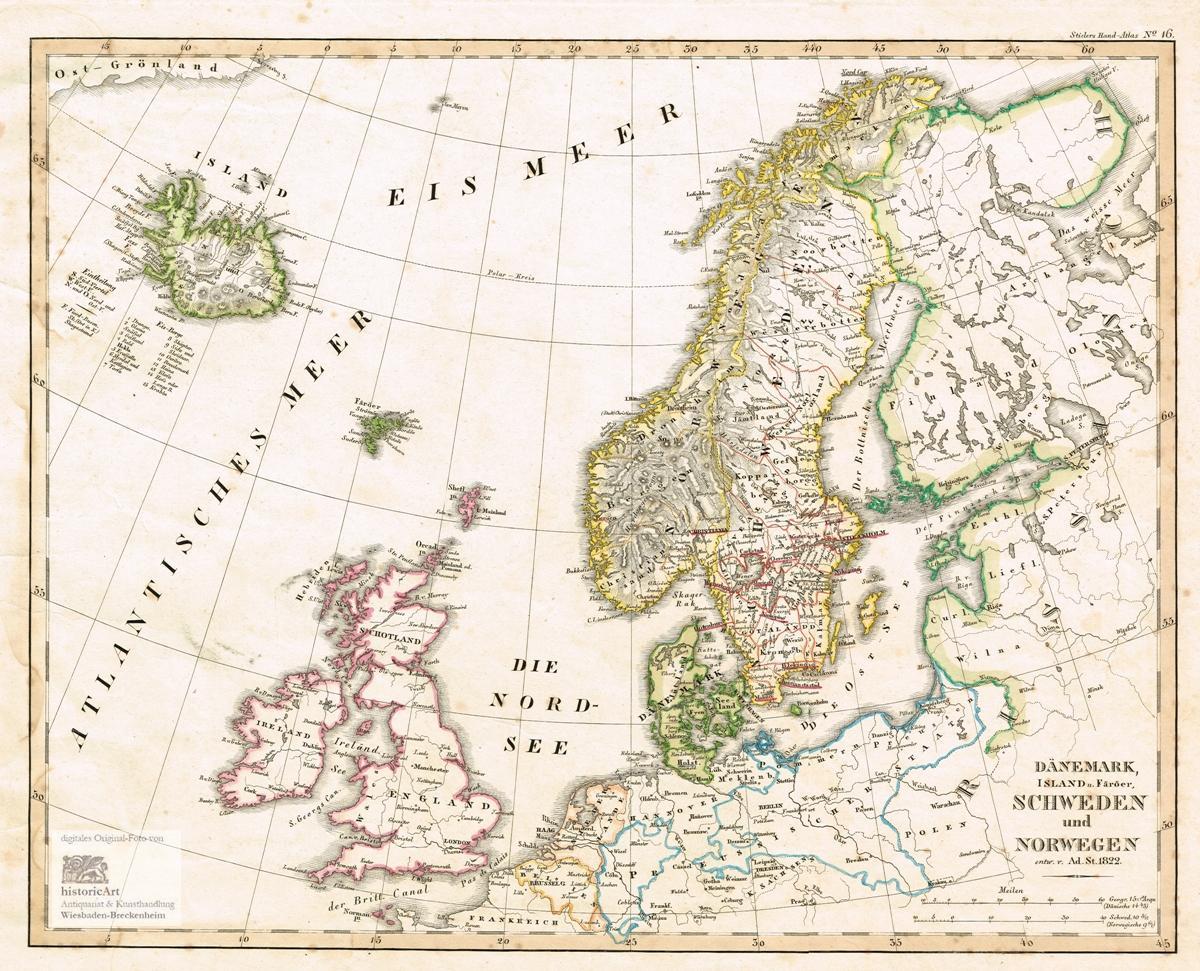 Danemark Island Und Faroer Schweden Und Norwegen Landkarte Von