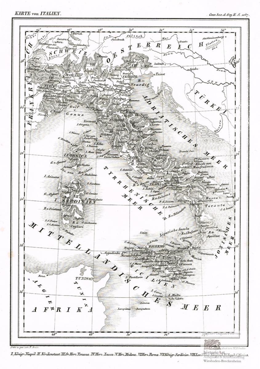 Toskana Karte Italien.Karte Von Italien Königreich Neapel