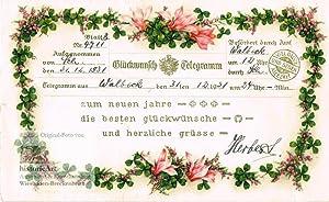 Glückwunsch-Telegramm zum Neuen Jahr. Schmuck-Telegramm 31.12.1931: Anonymus