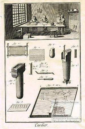 Cardier. Kardätschenmacher. Blick in eine Werkstatt mit: Denis Diderot; Jean