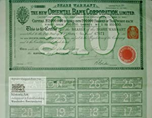 The New Oriental Bank Corporation. Share Warrant to Bearer for one Share of 10 Pounds Sterling
