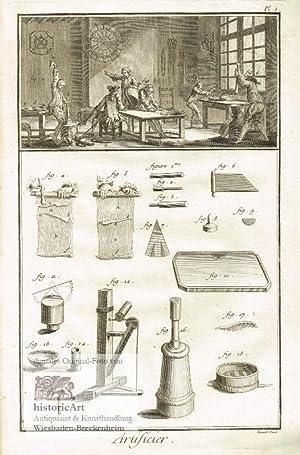 Artificier. Pyrotechniker. Blick in eine Werkstatt mit: Denis Diderot; Jean