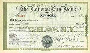 The National City Bank of New-York. Certificate of 50 Shares of Twenty Dollars par value. Origina...