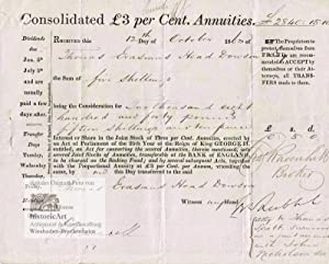 Consolidated Pound Sterling 3 per Cent. Annuities, transferable at the Bank of England. Britische...