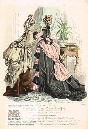 Zwei junge Damen in prächtigen Kleidern beim: A. Lacouriere