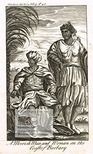 A Moorish Man and Woman on the Coast of Barbary. Mann und Frau, Mauren mit Turban und Säbel neben...