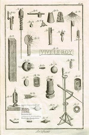 Artificier. Pyrotechniker. 30 Abbildungen von Feuerwerkskörpern, Sylvester-Raketen,: Denis Diderot; Jean