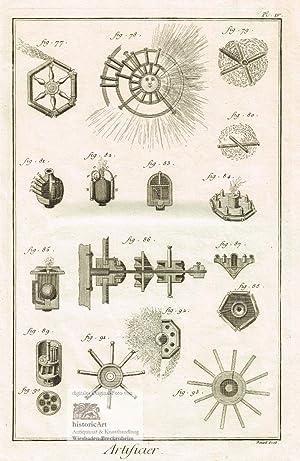 Artificier. Pyrotechniker. Abbildungen von Feuerwerkskörpern, Böllern, Knallkörpern: Denis Diderot; Jean