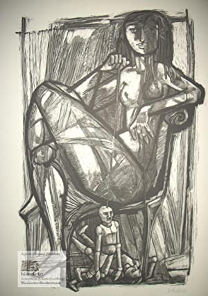 Circe. Weiblicher Akt mit männlichen Marionetten. Original-Holzschnitt: Willi Probst (1915-