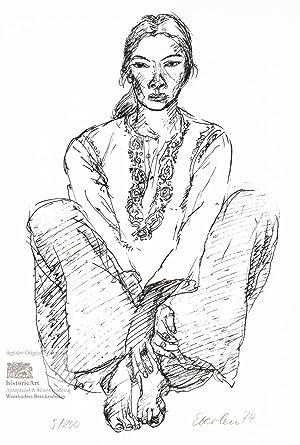 Sitzende. Original-Lithographie von Klaus Eberlein bei Kirchner.: Klaus Eberlein (geb.