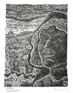 Porträt mit Landschaft. Original-Lithographie von Gottfried Teuber: Gottfried Teuber (geb.