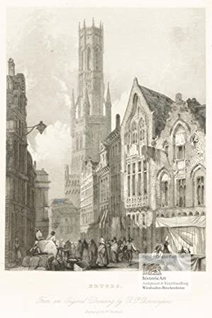 Bruges. From an Original Drawing by R.P. Bonnington. Lebhaftes Markttreiben in der Innenstadt von...