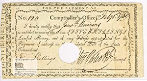 Oliver Wolcott. Promissory Note about five shillings lawful money issued by the State of Connecti...