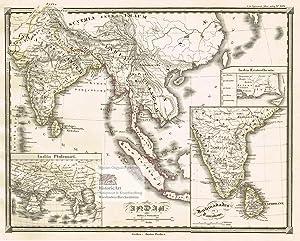 India. Große Landkarte von Indien, Ceylon, Indonesien: Karl Spruner von