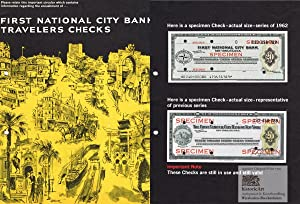 First National City Bank of New York. Circular with 2 specimen travelers checks for 20 US dollars...