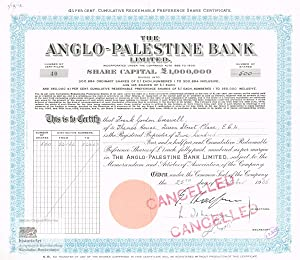 The Anglo-Palestine Bank Limited. Registered 4 1/2 Per Cent Cumulative Redeemable Preference Shar...