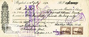 First bill of exchange signed by Abdul Ezer Kheder Nawy to the order of the Imperial Ottoman Bank...
