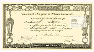 Banque de France. Versement d'Or pour la Défense Nationale en Or de la Somme de 80 Francs en Écha...