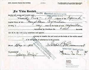 Francis Irénée du Pont as Wall Street broker. Autograph signed transfer certificate about 25 shar...
